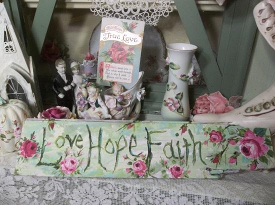 (Love Hope Faith) Handpainted Sign