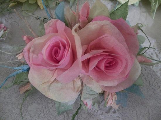 (Claudette) Handmade Paper Rose Clip