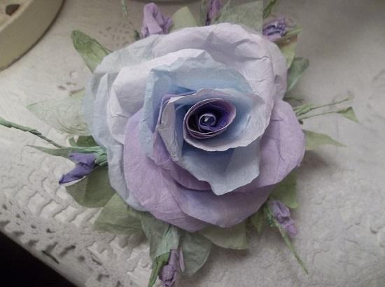 (Blue Violet) Handmade Paper Rose Clip