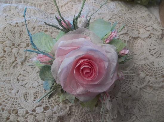 (Rosa Monet) Handmade Paper Rose Clip