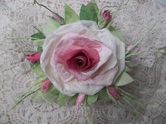 (Sadie) Handmade Paper Rose Clip