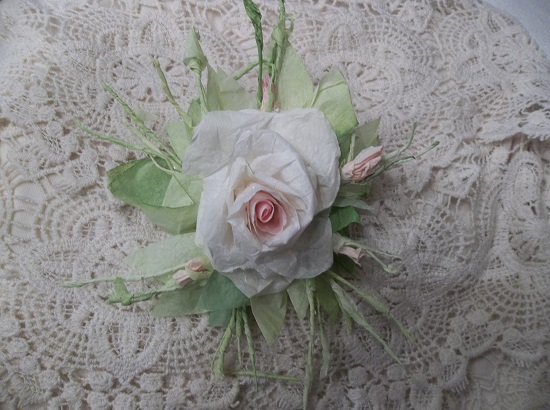 (Sandra) Handmade Paper Rose Clip