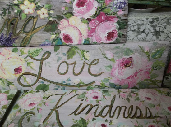 (Pink Love) Handpainted Sign