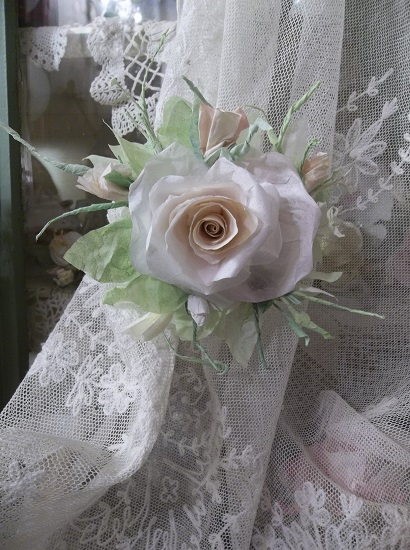 (Shades Of Lace And Roses) Handmade Paper Rose Clip