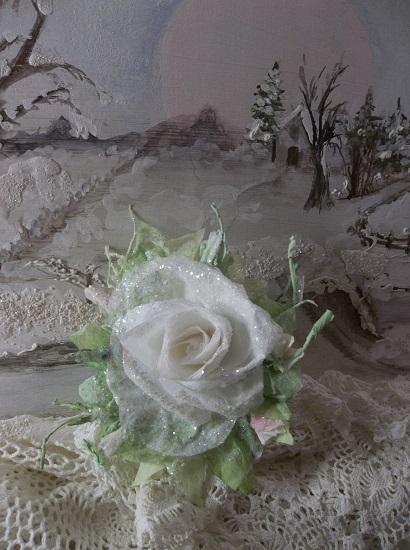 (Noel) German Glass Glittered Handmade Paper Rose Clip