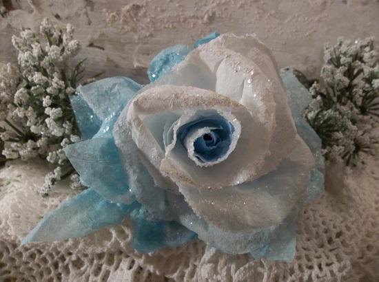 (Skyler) German Glass Glittered Handmade Paper Rose Clip
