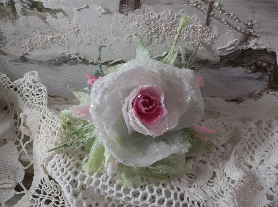 (Carol) German Glass Glittered Handmade Paper Rose Clip