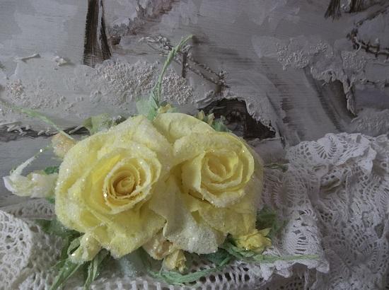 (Star) German Glass Glittered Handmade Paper Rose Clip