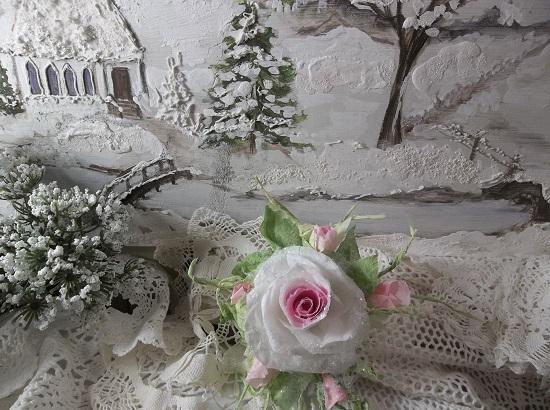 (Tinsaleena) German Glass Glittered Handmade Paper Rose Clip