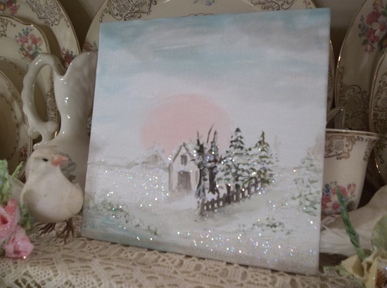 (All That's Left Of The Old Home Place) Textured Acrylic Snow Painting