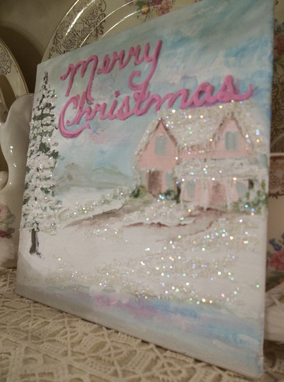 (Merry Christmas) Textured Acrylic Snow Painting