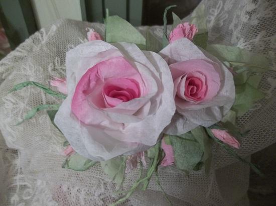 (Mimi) Handmade Paper Rose Clip