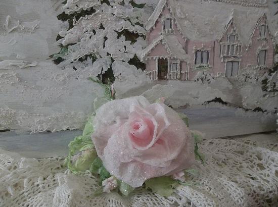 (Noelle) German Glass Glittered Handmade Paper Rose Clip