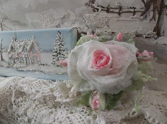 (Eira) German Glass Glittered Handmade Paper Rose Clip