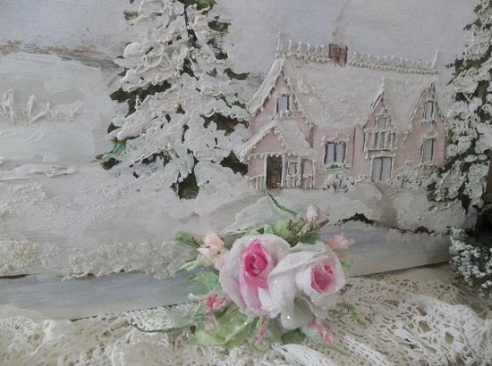 (Elsa) German Glass Glittered Handmade Paper Rose Clip