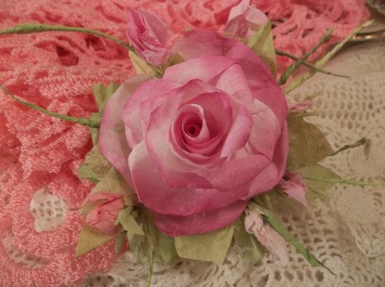 (Joyful Jenny) Handmade Paper Rose Clip