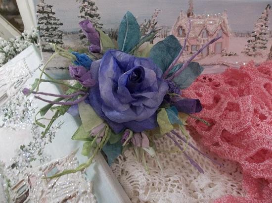 (Violet Skies) Handmade Paper Rose Clip