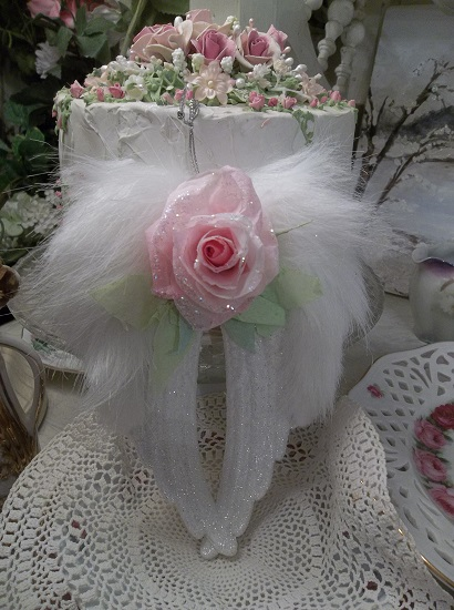 (Angelica) Angel Wings Ornament With Glittered Paper Roses