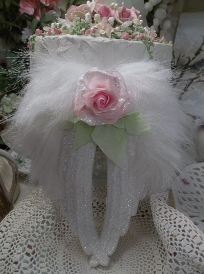 (Hailie) Angel Wings Ornament With Glittered Paper Roses