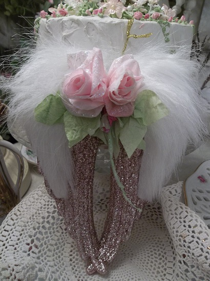 (Ruth) Angel Wings Ornament With Glittered Paper Roses