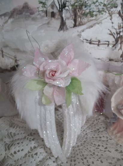 Angel Dreams) Angel Wings Ornament With Glittered Paper Roses
