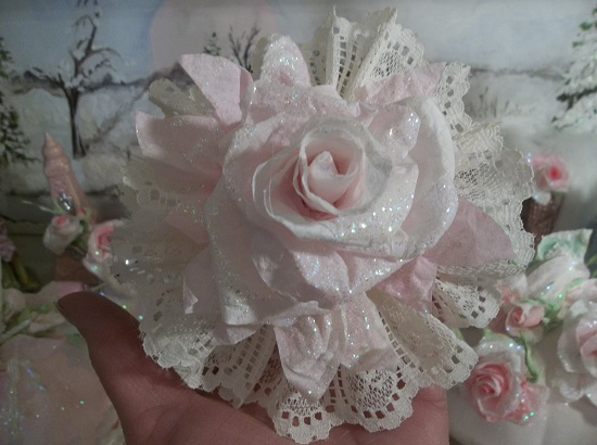 (Mystery) Ivory Lace Glittered Rose Christmas/ Valentine Decor