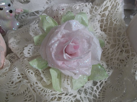 (Lucy)Ivory Lace Glittered Rose Christmas/ Valentine Decor