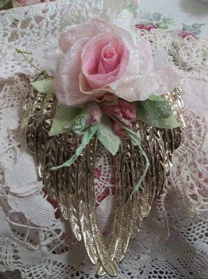 (Carolyn) Angel Wings Ornament With Glittered Paper Roses
