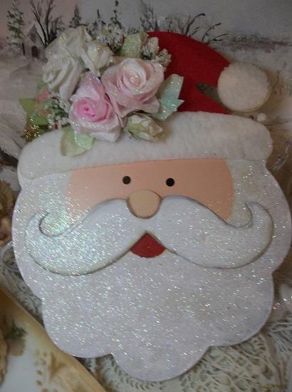 (Frosty The Santa Man) Decorated Wood Cutout Christmas Decoration