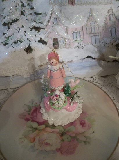 (Canada Girl) Funky Junk Fake Christmas Cake Ornament