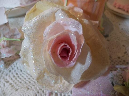 (Sugar) Glittered Handmade Paper Rose
