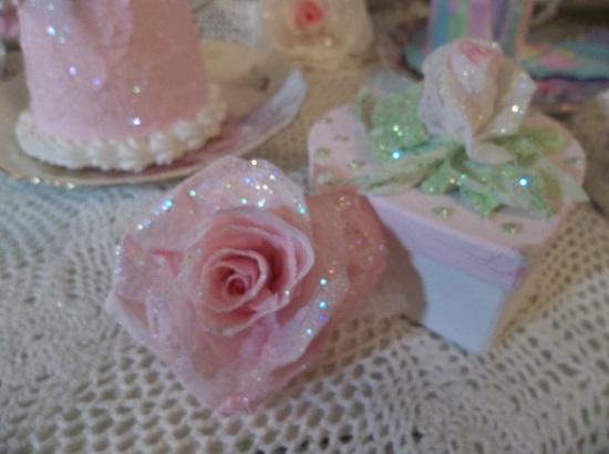 (Sparkles) Glittered Handmade Paper Rose