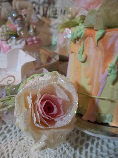 (Madalynn) Glittered Handmade Paper Rose