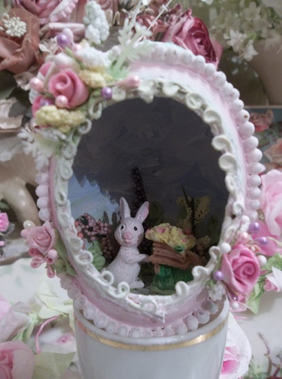 (Bunny In The Garden With A Wheel Barrow Of Flowers) Decorated Panoramic Easter Egg