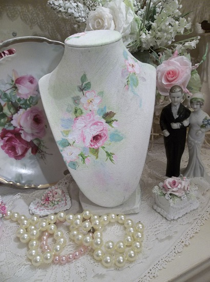 (Tiffany) Hand Painted Necklace Display Mannequin
