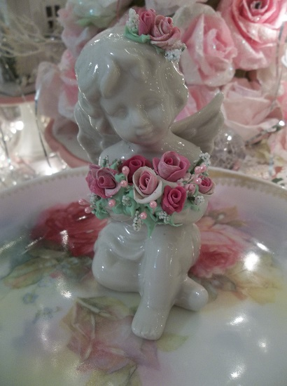 (Wings And Roses) Decorated Ceramic Angel