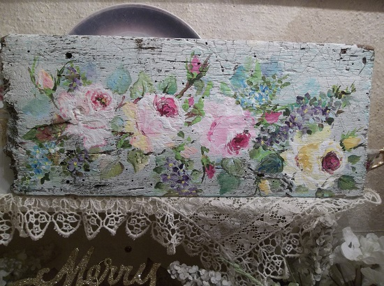 (Time Tattered Roses) Handpainted Sign