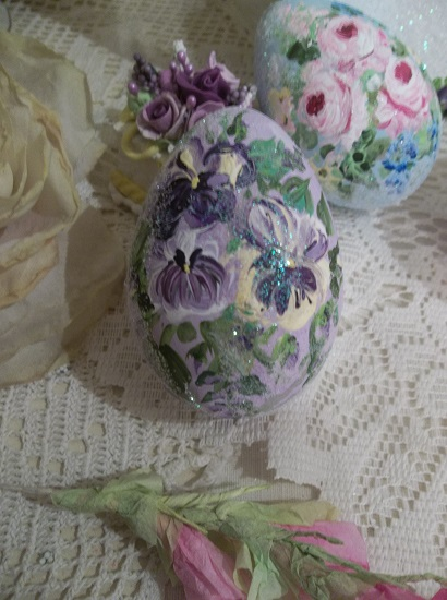 (Frosted Pansies) Handpainted Fake Egg