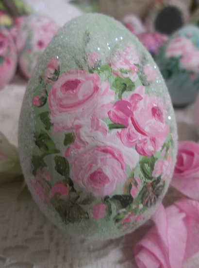 (Mint And Roses) Handpainted Fake Egg