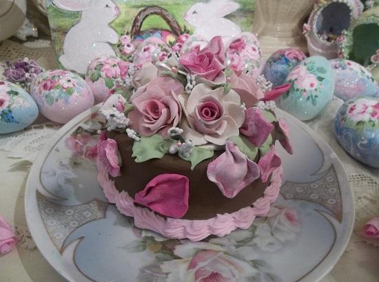 (Raspberry Petals) Funky Junk Fake Cake