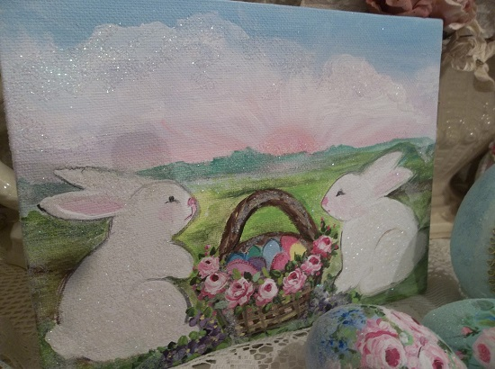 (Bunnies At Sunset) Acrylic Painting On Stretched Canvas