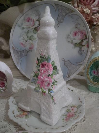 (Paris Rose) Handpainted And Glittered Ceramic Eiffel Tower