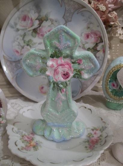 (Christina) Handpainted And Glittered Ceramic Cross