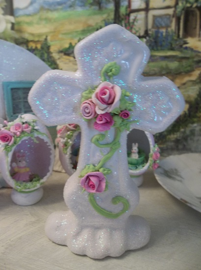 (Jesus Cross) Handpainted And Glittered Ceramic Cross