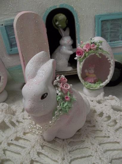 (Barbara Bush Bunny) Decorated Ceramic Bunny