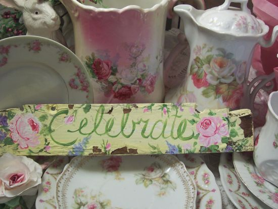 (celebrate) HANDPAINTED ROSES SIGN