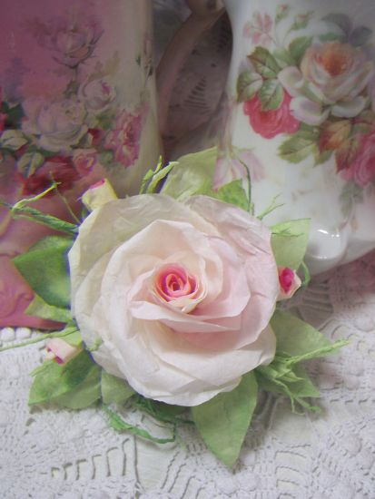 (Gracey Rose rc) Victorian Paper Rose Clip Lamp Decor Chic n Shabby