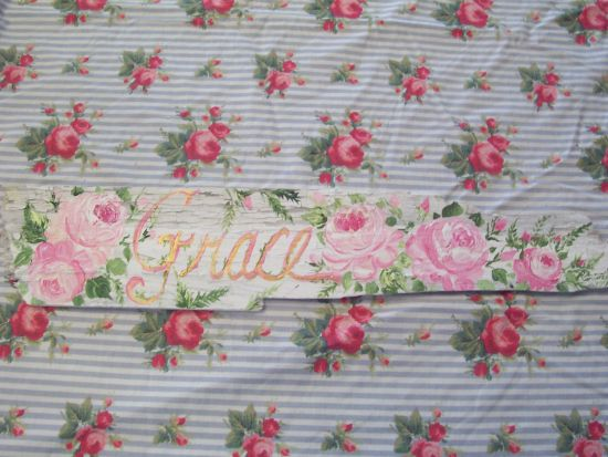 (Graceful Roses) HANDPAINTED ROSES SIGN SHABBY COTTAGE STYLE