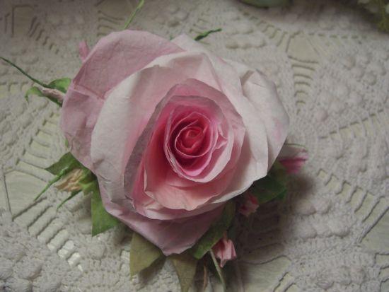 (Betsie Rose) Handmade Paper Rose Clip