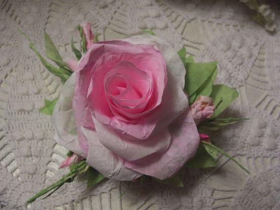 (Dione Rose) Handmade Paper Rose Clip